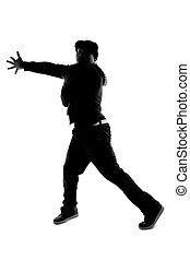 Silhouette of Hip Hop Dancer - Black and white silhouette of...