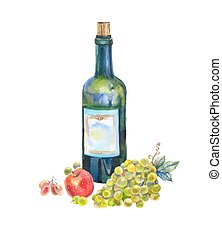 Still life with a bottle of wine, grapes and apple in watercolor