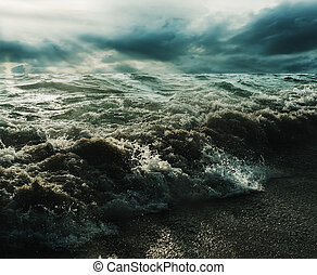 Sea and beach storm with sunrays in over dark tone, Wave...