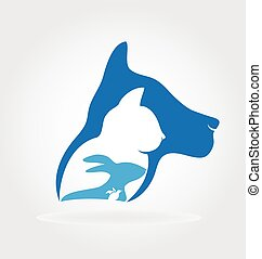 Cat dog rabbit and bird logo vector design