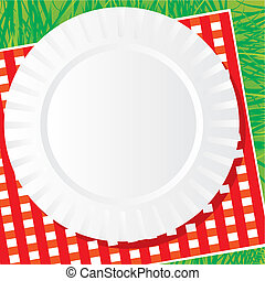 picnic - background vector image of a plastic dish for a...