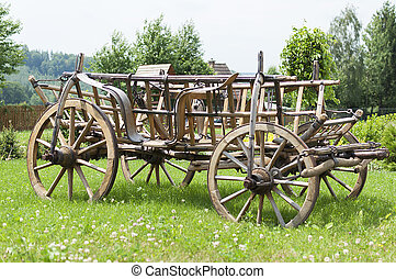 Wooden four wheel cart - Traditional wooden four wheel cart...