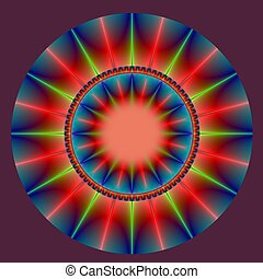 Sunburst Roundel - Computer generated fractal image with a...
