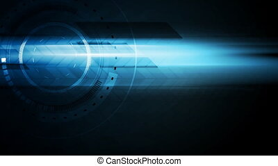 Dark blue technology glowing video animation - Tech HUD...