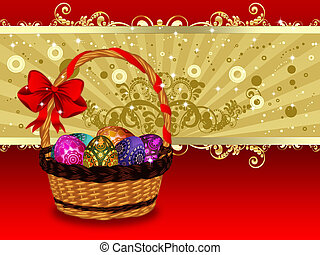 Easter Card with Basket - Greeting card in red and gold with...