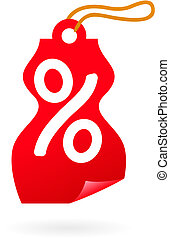 Sale tag with percent sign - Red sale tag shaped as female...