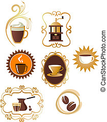 Coffee icons set - 4 - Collection of retro icons - coffee...