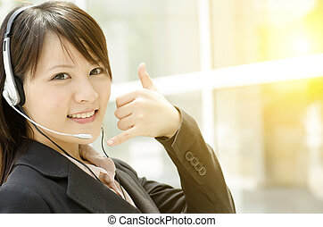 Asian female customer support - Portrait of a young Asian...