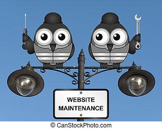 Website Maintenance - Comical website maintenance bird...
