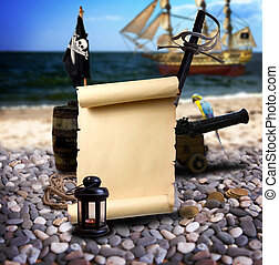 Pirate landscape on the beach - Pirate ambiance with with...