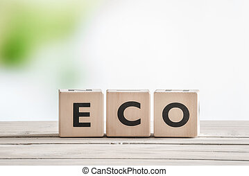 Eco word on wooden cubes