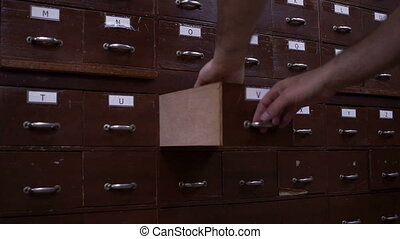 Card Catalog Drawer Side View - Side view shot of an...