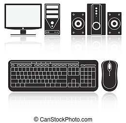 Icons of computer, audio system, keyboard and mouse on white...