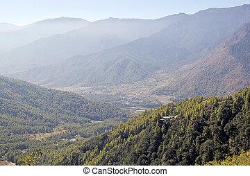 Paro Valley, Paro, Bhutan - Paro Valley landscape, Paro,...