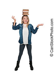 Woman carying books - Beautiful woman carrying a stack of...