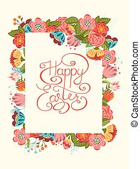 Happy Easter card - Hand lettering Happy Easter card Vintage...