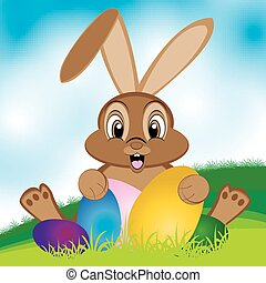 Easter bunny with colorful egg. Lit