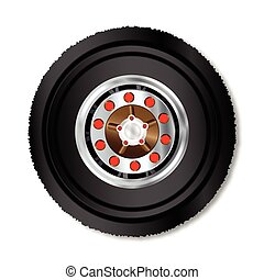 Truck Wheel - The wheel ov a large truck over a white...