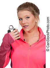 Hand Gripper - Occupational Therapy Exercising with a hand...