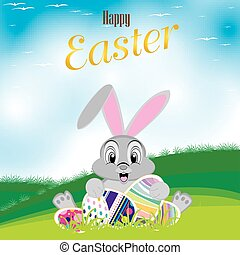 Easter bunny with colorful egg. Eas