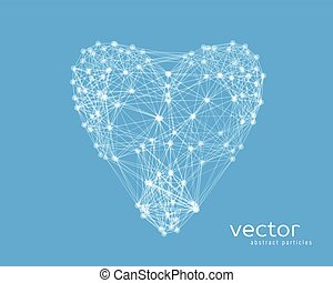Vector illustration of heart on blue background - Abstract...