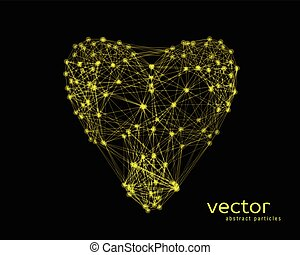 Vector illustration of heart on black background - Abstract...