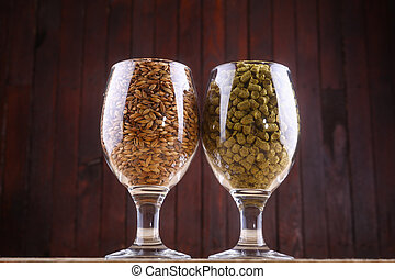 Malt and hops in glasses - Glasses full of malt and hops...