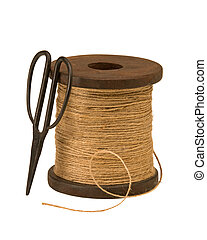 Garden twine and scissors - large spool of garden twine with...