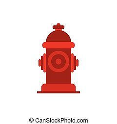 Fire hydrant icon in flat style isolated on white background