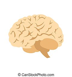 Human brain icon in flat style isolated on white background