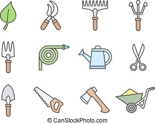 Gardening tools icons - Gardening tools icon set Vector...