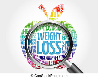 WEIGHT LOSS apple word cloud with magnifying glass, health...