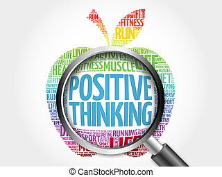 Positive thinking apple word cloud