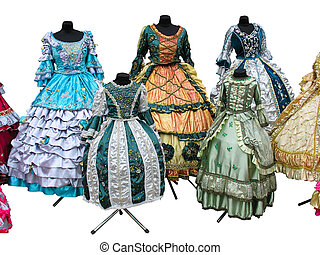 Colorfull stylized woman medieval costume clothes isolated -...