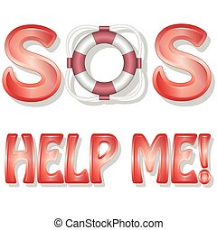 SOS-Help me - Illustration of letters and text messages to...