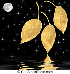 Moonlit Beauty - Fantasy abstract of golden hosta leaves...