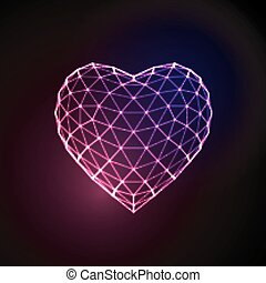 Happy Valentines Day 3D illuminated neon heart of glowing...