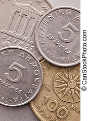 diferente, moedas, de, antigas, Grego, Dinheiro,