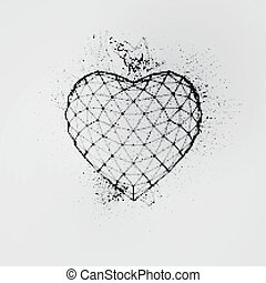 Happy Valentines Day. 3D ink heart. Vector illustration.