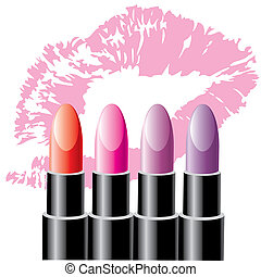lipstick - four colored lipsticks on the background of a...