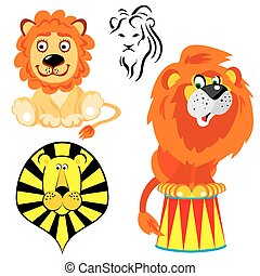 lions - set of vector images of lions in different styles