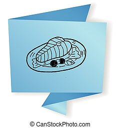 salmão, doodle,