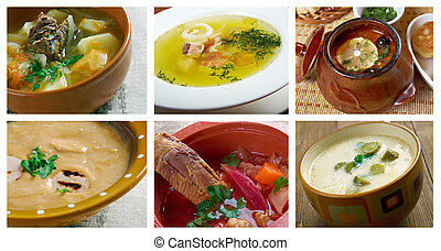 Slavonic traditional Soup. - Food set .Slavonic traditional...