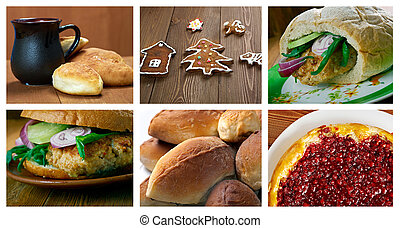 Slavonic traditional baked - Food set .Slavonic traditional...