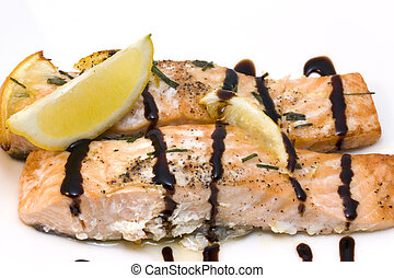 salmon with balsamic vinegar - photo of a delicious baked...