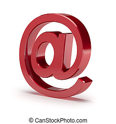 E-mail at simbol. Red shiny mail sign isolated on white...