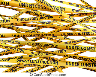 Under construction yellow ribbons over white background 3d...