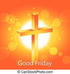 Orange cross Good Friday banner 2 - Orange cross on warm sun...