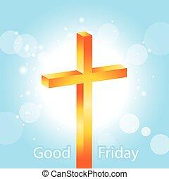 Orange cross Good Friday banner 1 - Orange cross on blue sky...
