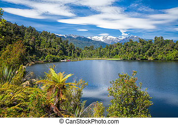 Kettle lake Mapourika in New Zealand
